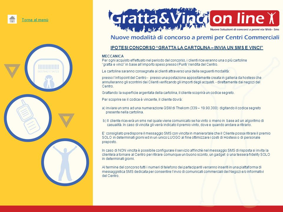 Vantaggi post concorso: Soluzione Gratta - Invia un sms e Vinci: Certezza di aver acquisito il numero di cellulare del Cliente.