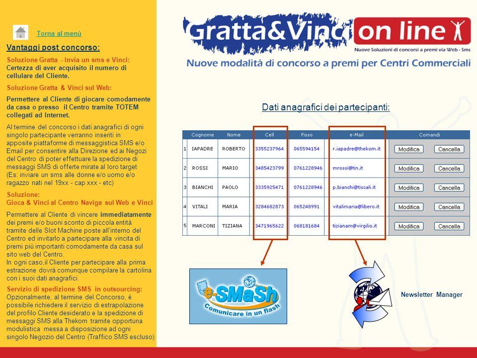 Vantaggi post concorso: Soluzione Gratta - Invia un sms e Vinci: Certezza di aver acquisito il numero di cellulare del Cliente. Soluzione Gratta & Vin