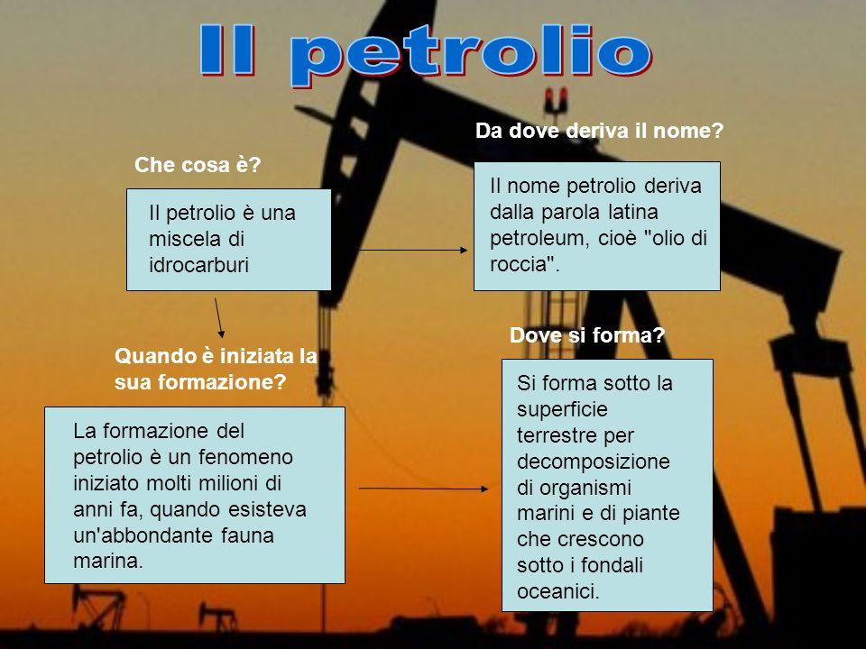 Il petrolio è una miscela di idrocarburi La formazione del petrolio è un fenomeno iniziato molti milioni di anni fa, quando esisteva un'abbondante fau