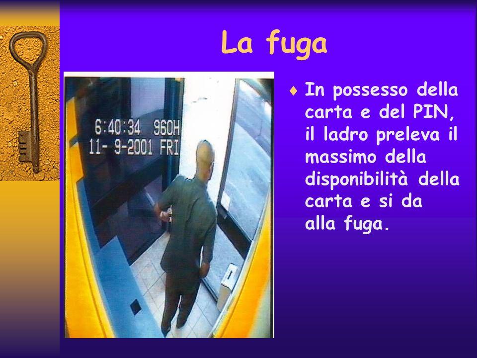La fuga In possesso della carta e del PIN, il ladro preleva il massimo della disponibilità della carta e si da alla fuga.