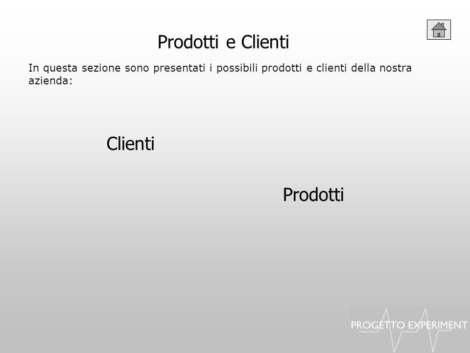 Prodotti e Clienti In questa sezione sono presentati i possibili prodotti e clienti della nostra azienda: Clienti Prodotti