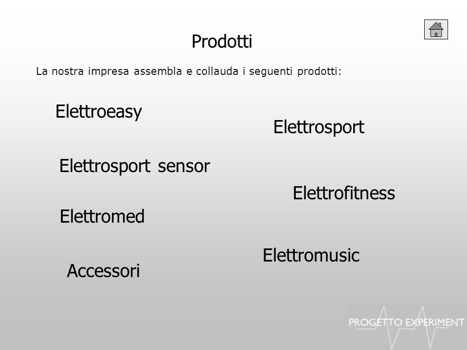 Prodotti La nostra impresa assembla e collauda i seguenti prodotti: Elettroeasy Elettrofitness Elettrosport Accessori Elettrosport sensor Elettromed E