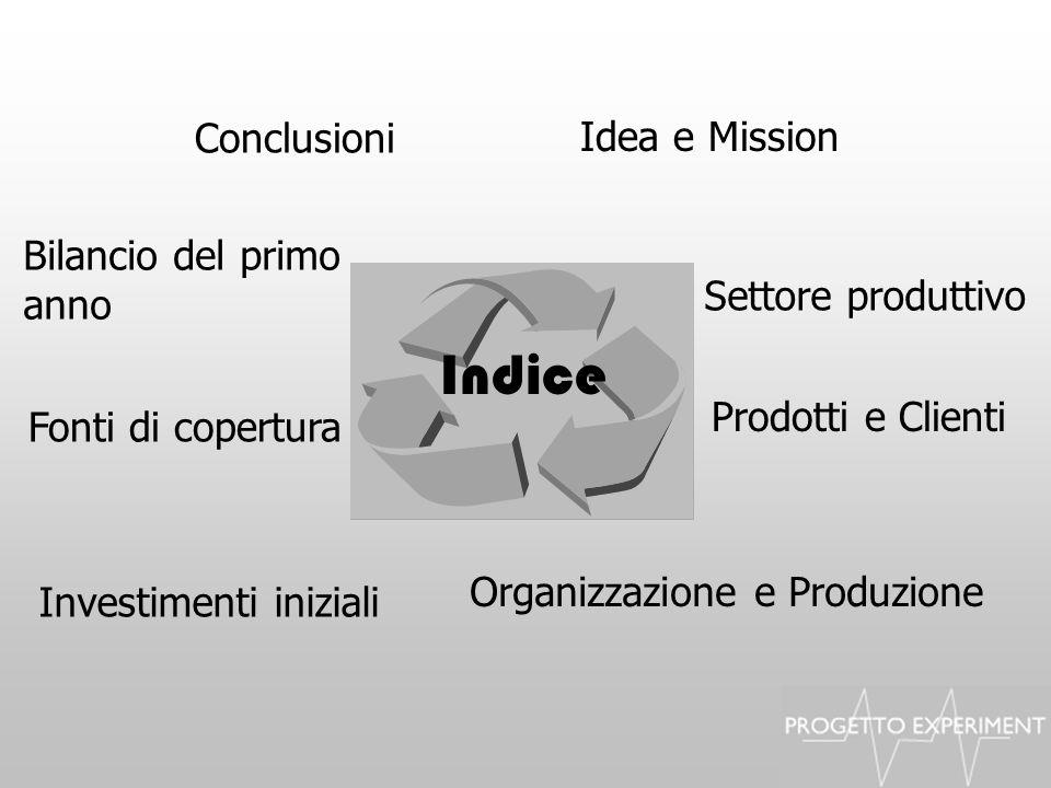 Indice Idea e Mission Settore produttivo Prodotti e Clienti Investimenti iniziali Fonti di copertura Organizzazione e Produzione Bilancio del primo an