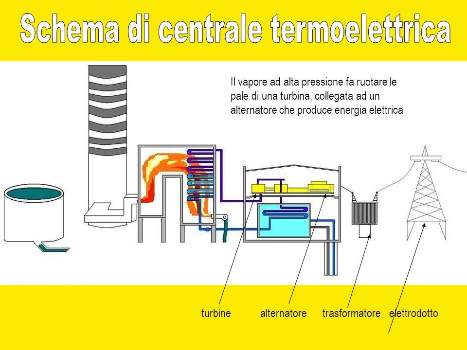 Il vapore ad alta pressione fa ruotare le pale di una turbina, collegata ad un alternatore che produce energia elettrica turbinealternatoretrasformato
