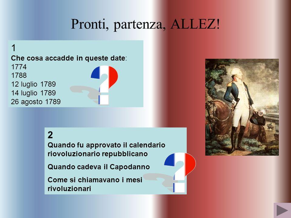 Pronti, partenza, ALLEZ! 1 Che cosa accadde in queste date: 1774 1788 12 luglio 1789 14 luglio 1789 26 agosto 1789 2 Quando fu approvato il calendario
