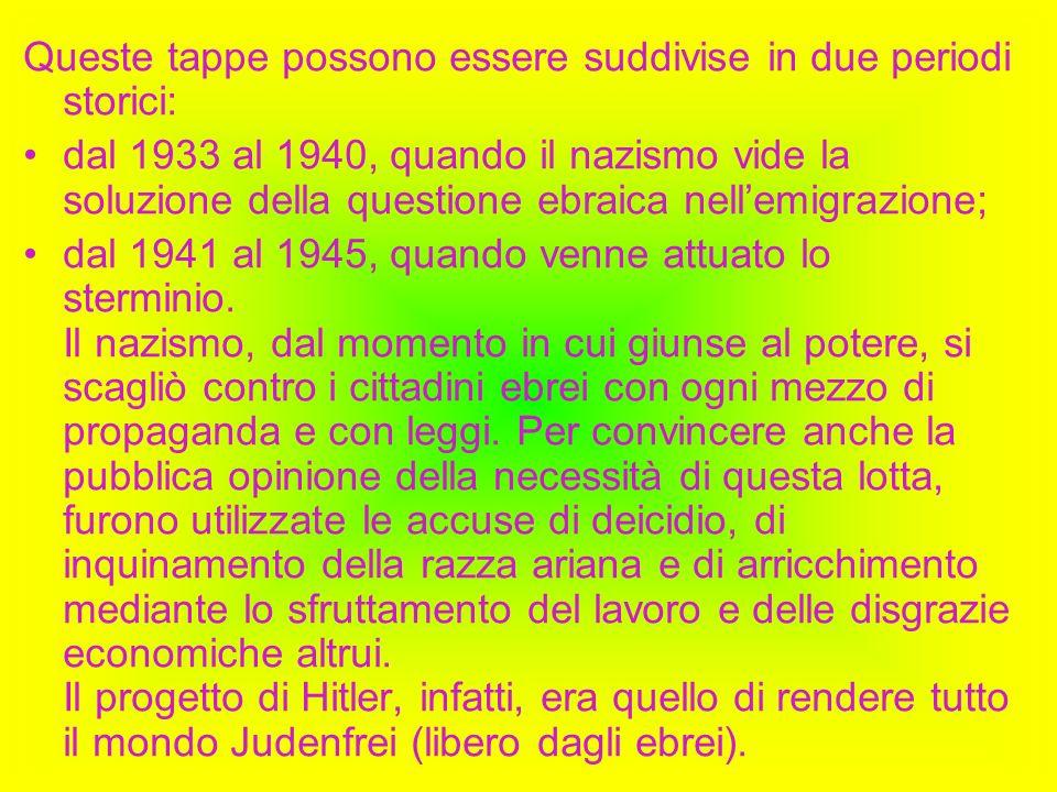 Queste tappe possono essere suddivise in due periodi storici: dal 1933 al 1940, quando il nazismo vide la soluzione della questione ebraica nellemigra