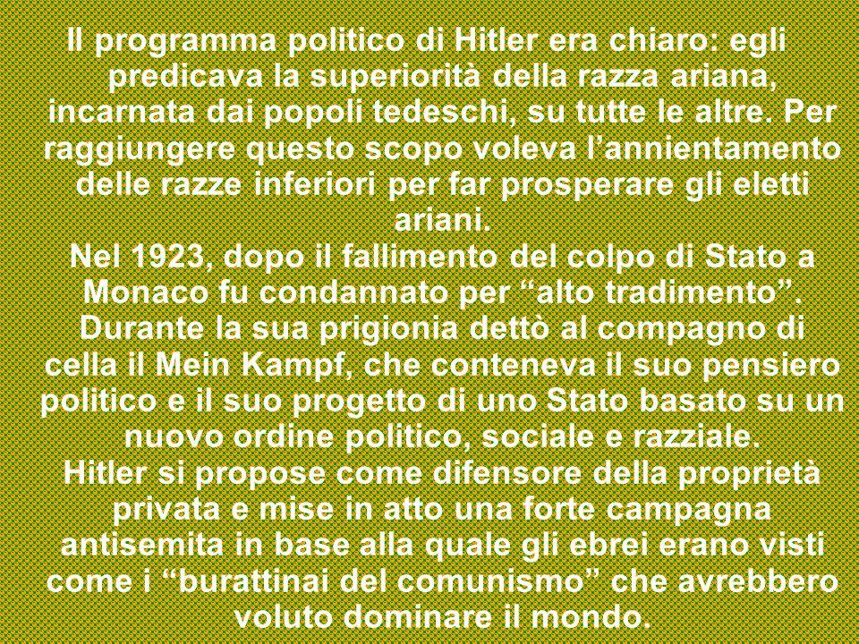 Il programma politico di Hitler era chiaro: egli predicava la superiorità della razza ariana, incarnata dai popoli tedeschi, su tutte le altre. Per ra
