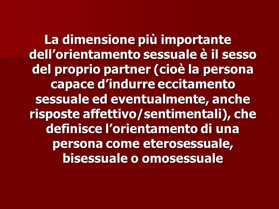 La dimensione più importante dellorientamento sessuale è il sesso del proprio partner (cioè la persona capace dindurre eccitamento sessuale ed eventua