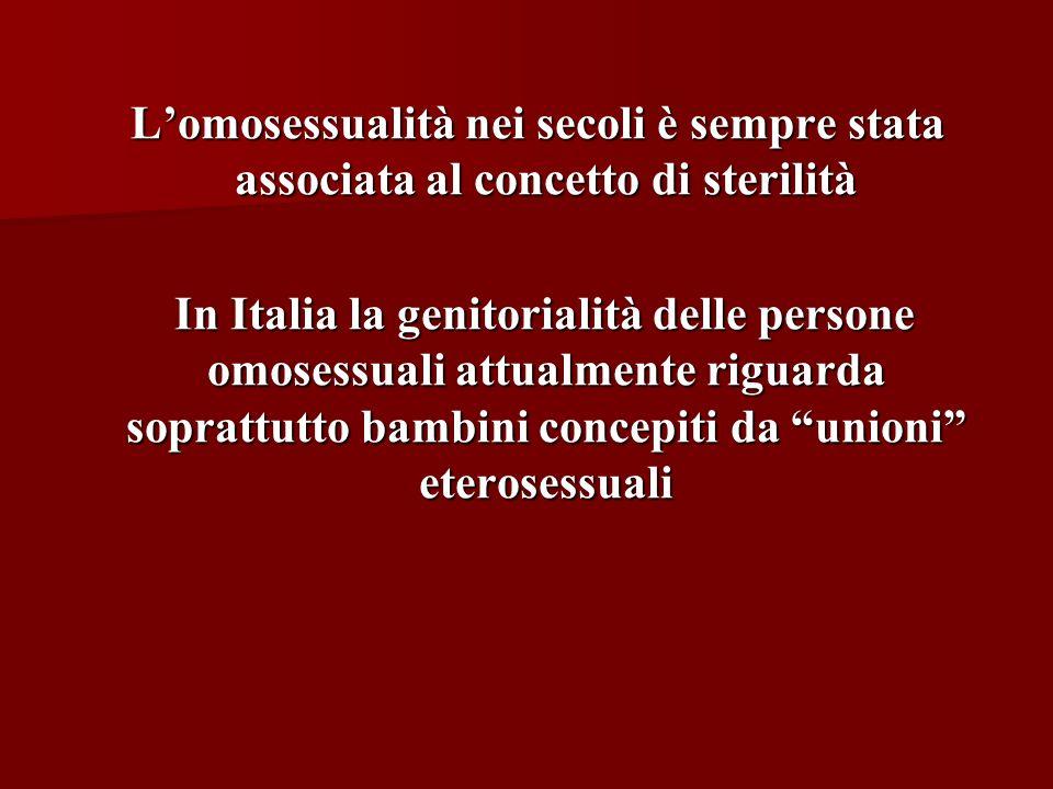 Lomosessualità nei secoli è sempre stata associata al concetto di sterilità Lomosessualità nei secoli è sempre stata associata al concetto di sterilit