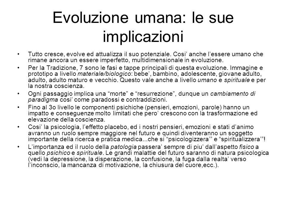 Evoluzione umana: le sue implicazioni Tutto cresce, evolve ed attualizza il suo potenziale. Cosi anche lessere umano che rimane ancora un essere imper