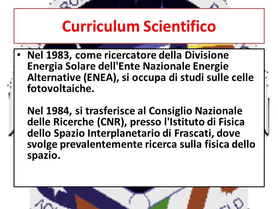 E nominato responsabile scientifico (Project Scientist) di RETE, uno degli esperimenti previsti per il Tethered Satellite System (TSS), un satellite italiano destinato a volare a bordo dello Space Shuttle.