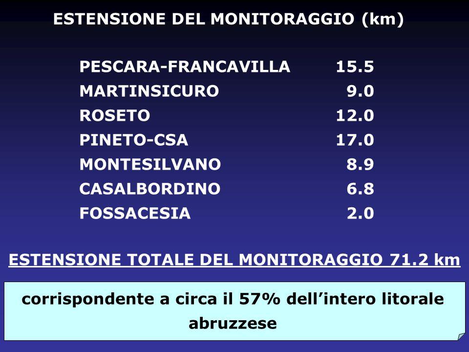 ESTENSIONE DEL MONITORAGGIO (km) PESCARA-FRANCAVILLA MARTINSICURO ROSETO PINETO-CSA MONTESILVANO CASALBORDINO FOSSACESIA 15.5 9.0 12.0 17.0 8.9 6.8 2.