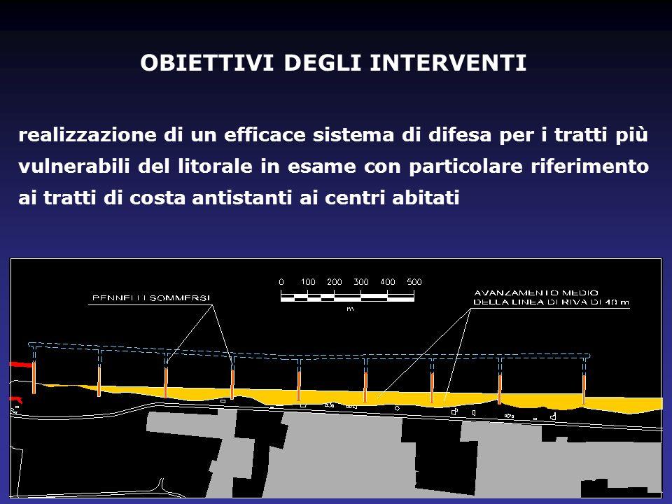 OBIETTIVI DEGLI INTERVENTI realizzazione di un efficace sistema di difesa per i tratti più vulnerabili del litorale in esame con particolare riferimen
