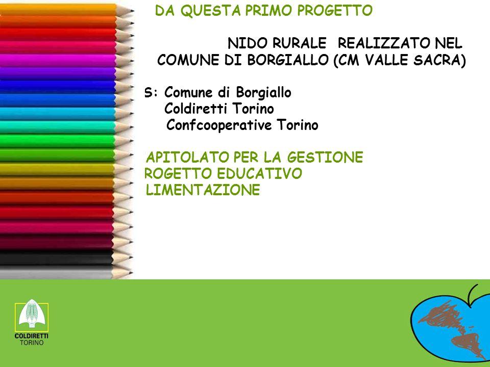 DA QUESTA PRIMO PROGETTO NIDO RURALE REALIZZATO NEL COMUNE DI BORGIALLO (CM VALLE SACRA) PS: Comune di Borgiallo Coldiretti Torino Confcooperative Tor