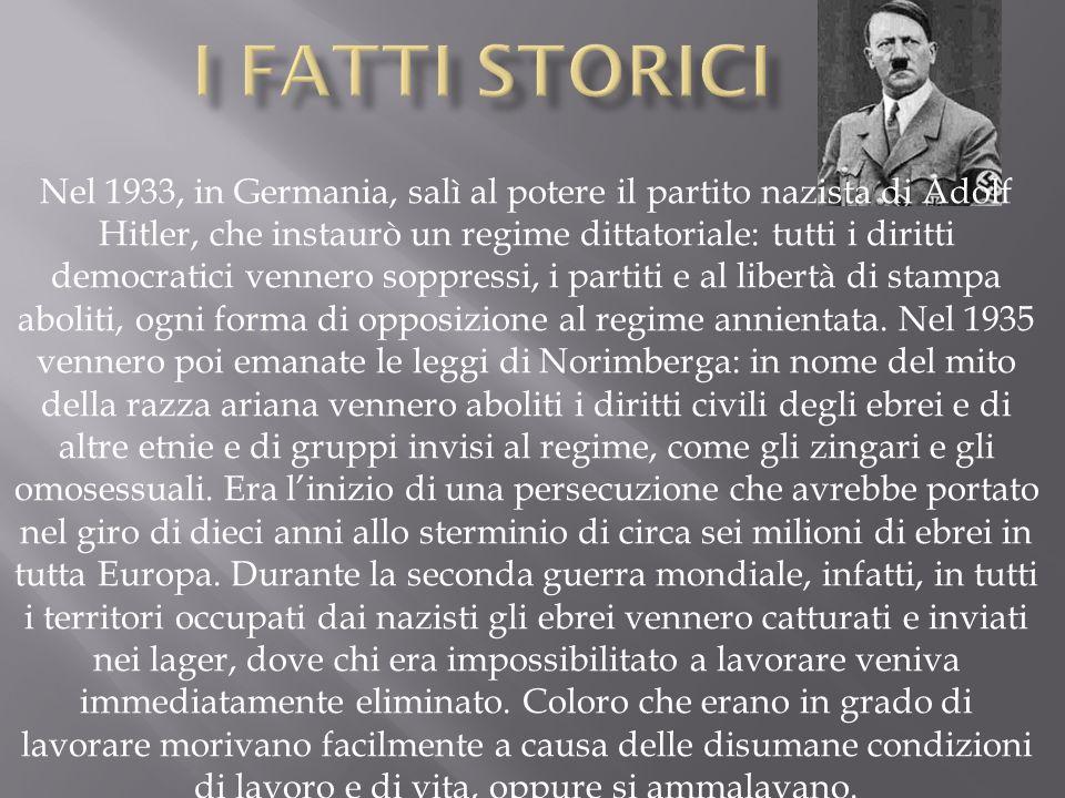 Nel 1933, in Germania, salì al potere il partito nazista di Adolf Hitler, che instaurò un regime dittatoriale: tutti i diritti democratici vennero sop