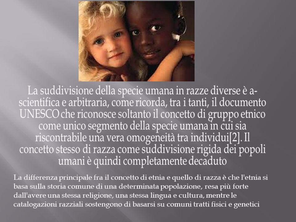 La differenza principale fra il concetto di etnia e quello di razza è che l'etnia si basa sulla storia comune di una determinata popolazione, resa più