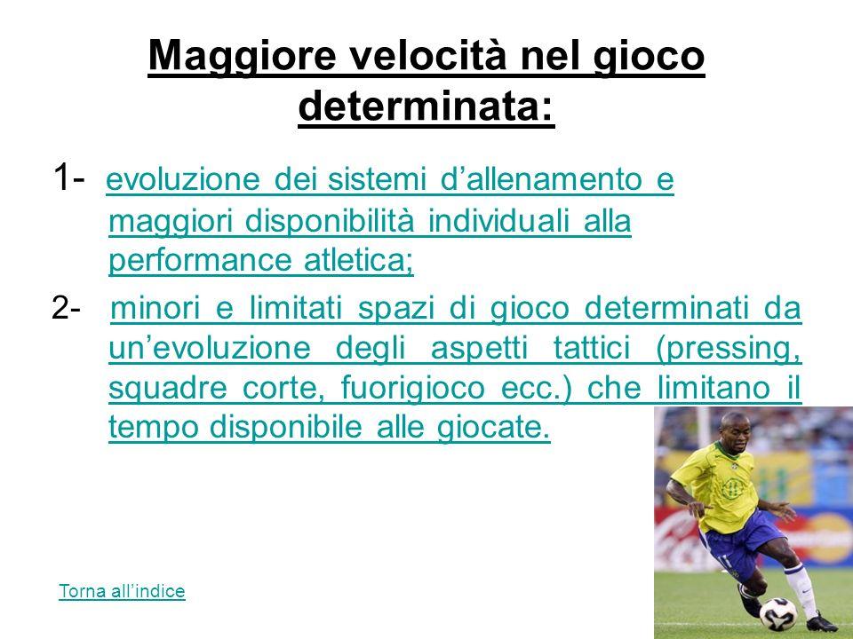Maggiore velocità nel gioco determinata: 1- evoluzione dei sistemi dallenamento e maggiori disponibilità individuali alla performance atletica; evoluz