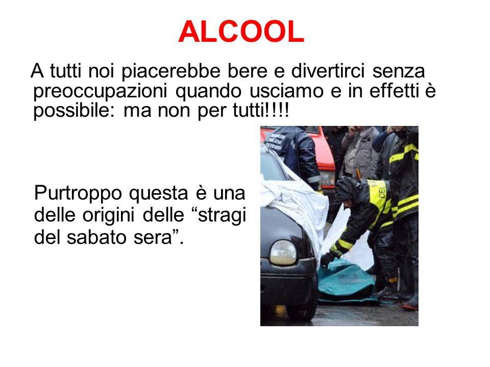 ALCOOL A tutti noi piacerebbe bere e divertirci senza preoccupazioni quando usciamo e in effetti è possibile: ma non per tutti!!!.