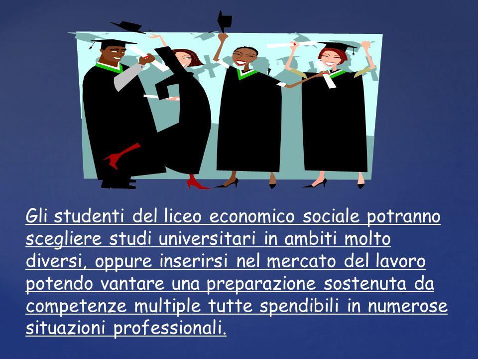 Gli studenti del liceo economico sociale potranno scegliere studi universitari in ambiti molto diversi, oppure inserirsi nel mercato del lavoro potendo vantare una preparazione sostenuta da competenze multiple tutte spendibili in numerose situazioni professionali.