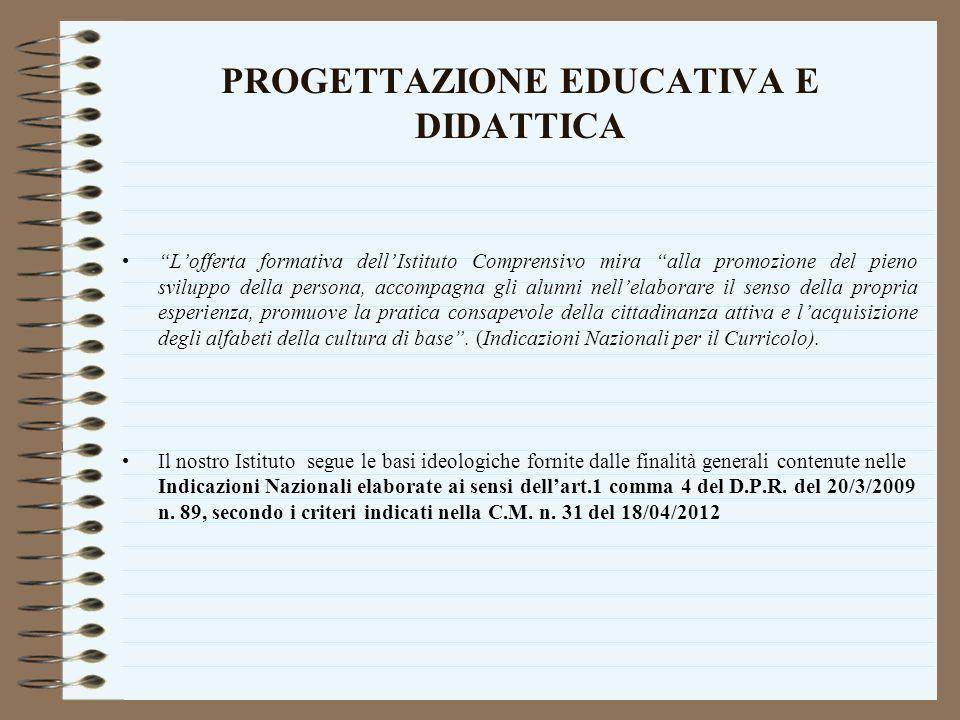 PROGETTAZIONE EDUCATIVA E DIDATTICA Lofferta formativa dellIstituto Comprensivo mira alla promozione del pieno sviluppo della persona, accompagna gli