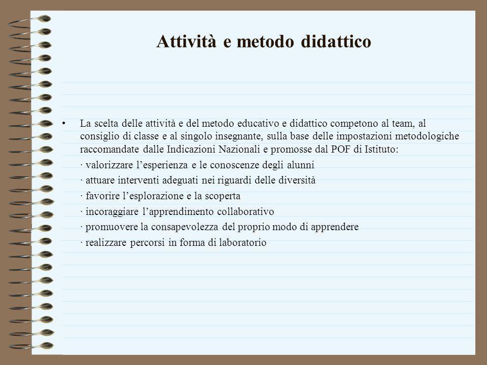 Attività e metodo didattico La scelta delle attività e del metodo educativo e didattico competono al team, al consiglio di classe e al singolo insegna