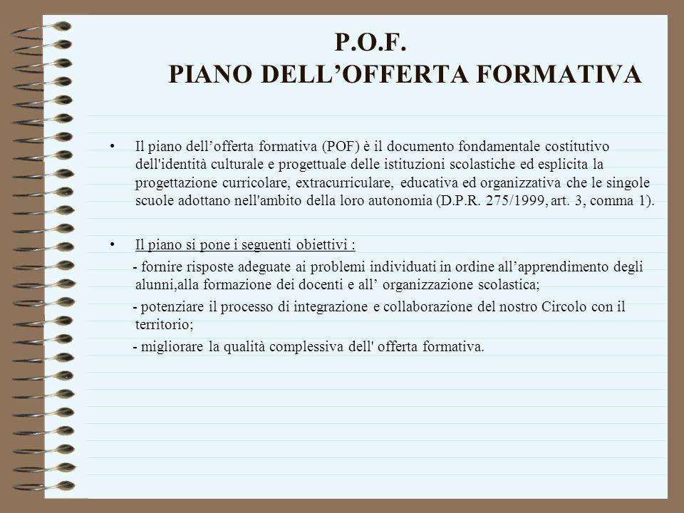 P.O.F. PIANO DELLOFFERTA FORMATIVA Il piano dellofferta formativa (POF) è il documento fondamentale costitutivo dell'identità culturale e progettuale