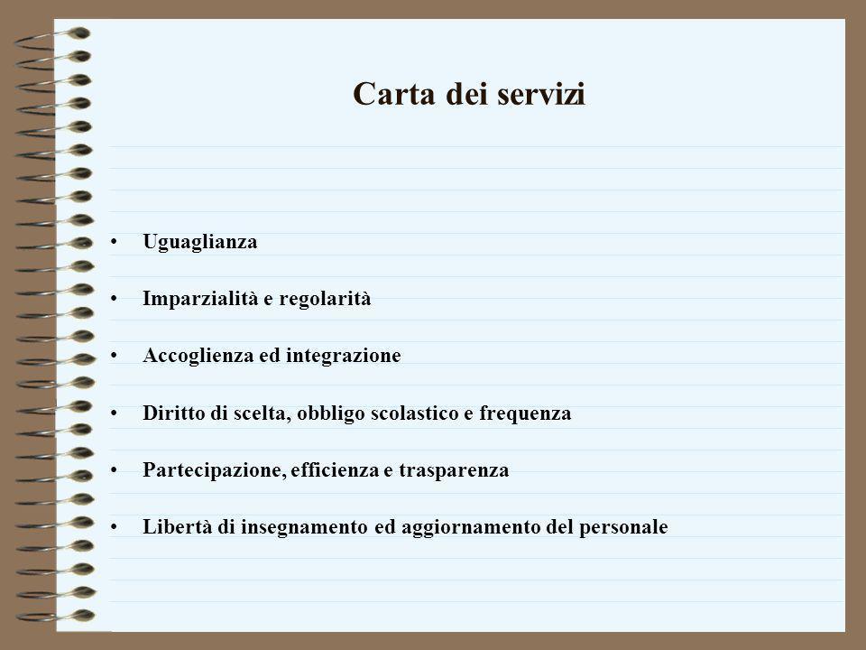 Carta dei servizi Uguaglianza Imparzialità e regolarità Accoglienza ed integrazione Diritto di scelta, obbligo scolastico e frequenza Partecipazione,