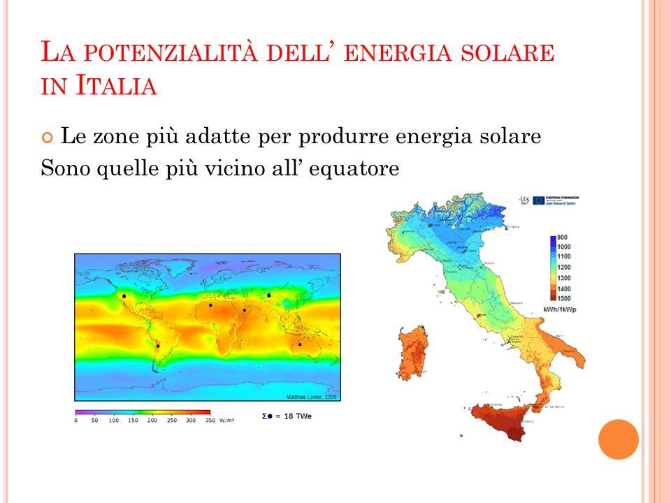 L A POTENZIALITÀ DELL ENERGIA SOLARE IN I TALIA Le zone più adatte per produrre energia solare Sono quelle più vicino all equatore
