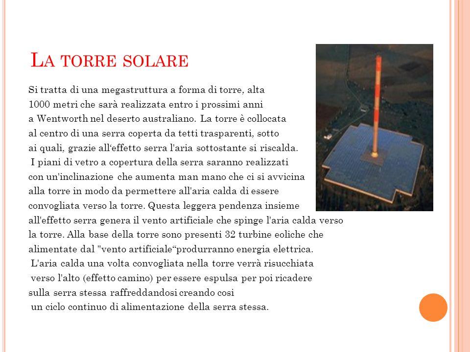 L A TORRE SOLARE Si tratta di una megastruttura a forma di torre, alta 1000 metri che sarà realizzata entro i prossimi anni a Wentworth nel deserto au