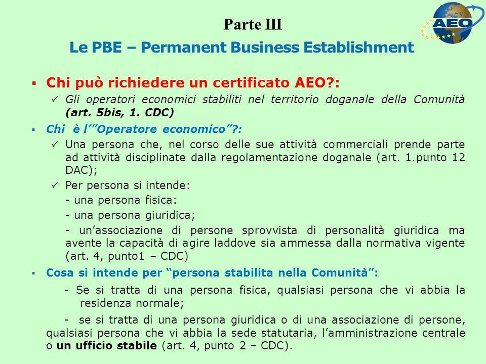 Chi può richiedere un certificato AEO : Gli operatori economici stabiliti nel territorio doganale della Comunità (art.