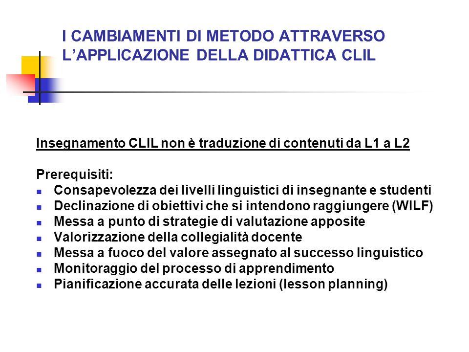 I CAMBIAMENTI DI METODO ATTRAVERSO LAPPLICAZIONE DELLA DIDATTICA CLIL Insegnamento CLIL non è traduzione di contenuti da L1 a L2 Prerequisiti: Consape