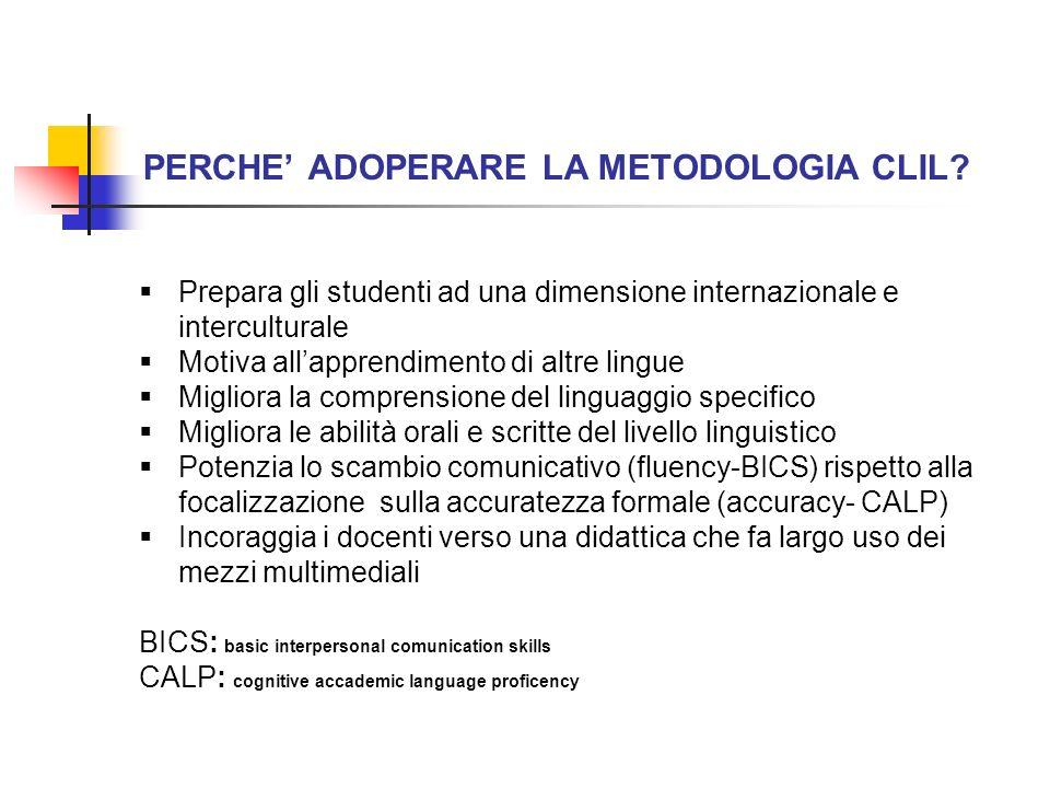 PERCHE ADOPERARE LA METODOLOGIA CLIL? Prepara gli studenti ad una dimensione internazionale e interculturale Motiva allapprendimento di altre lingue M