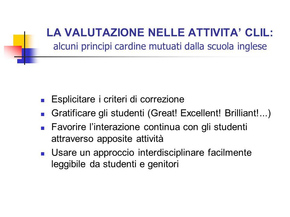 LA VALUTAZIONE NELLE ATTIVITA CLIL: alcuni principi cardine mutuati dalla scuola inglese Esplicitare i criteri di correzione Gratificare gli studenti