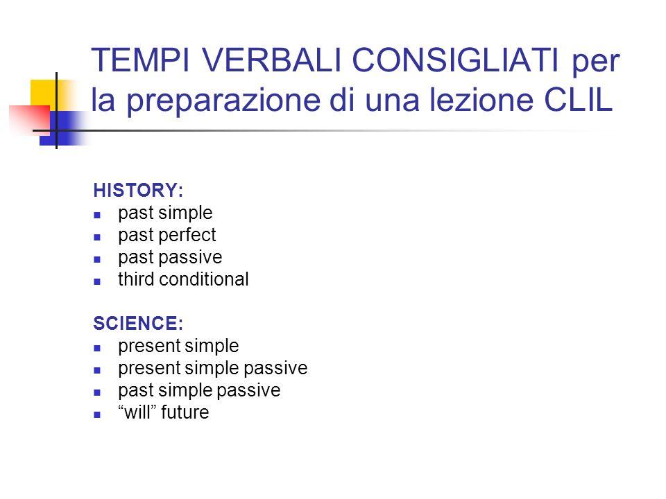 TEMPI VERBALI CONSIGLIATI per la preparazione di una lezione CLIL HISTORY: past simple past perfect past passive third conditional SCIENCE: present si