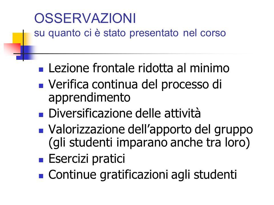 OSSERVAZIONI su quanto ci è stato presentato nel corso Lezione frontale ridotta al minimo Verifica continua del processo di apprendimento Diversificaz