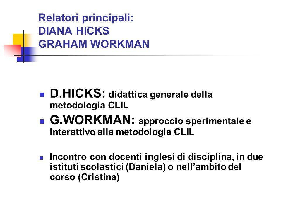 Relatori principali: DIANA HICKS GRAHAM WORKMAN D.HICKS: didattica generale della metodologia CLIL G.WORKMAN: approccio sperimentale e interattivo all