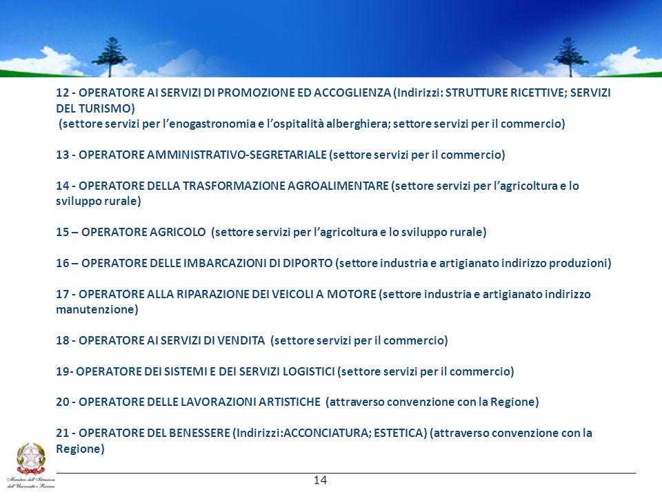 14 12 - OPERATORE AI SERVIZI DI PROMOZIONE ED ACCOGLIENZA (Indirizzi: STRUTTURE RICETTIVE; SERVIZI DEL TURISMO) (settore servizi per lenogastronomia e lospitalità alberghiera; settore servizi per il commercio) 13 - OPERATORE AMMINISTRATIVO-SEGRETARIALE (settore servizi per il commercio) 14 - OPERATORE DELLA TRASFORMAZIONE AGROALIMENTARE (settore servizi per lagricoltura e lo sviluppo rurale) 15 – OPERATORE AGRICOLO (settore servizi per lagricoltura e lo sviluppo rurale) 16 – OPERATORE DELLE IMBARCAZIONI DI DIPORTO (settore industria e artigianato indirizzo produzioni) 17 - OPERATORE ALLA RIPARAZIONE DEI VEICOLI A MOTORE (settore industria e artigianato indirizzo manutenzione) 18 - OPERATORE AI SERVIZI DI VENDITA (settore servizi per il commercio) 19- OPERATORE DEI SISTEMI E DEI SERVIZI LOGISTICI (settore servizi per il commercio) 20 - OPERATORE DELLE LAVORAZIONI ARTISTICHE (attraverso convenzione con la Regione) 21 - OPERATORE DEL BENESSERE (Indirizzi:ACCONCIATURA; ESTETICA) (attraverso convenzione con la Regione)