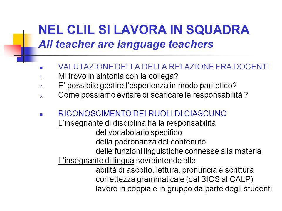 NEL CLIL SI LAVORA IN SQUADRA All teacher are language teachers VALUTAZIONE DELLA DELLA RELAZIONE FRA DOCENTI 1. Mi trovo in sintonia con la collega?