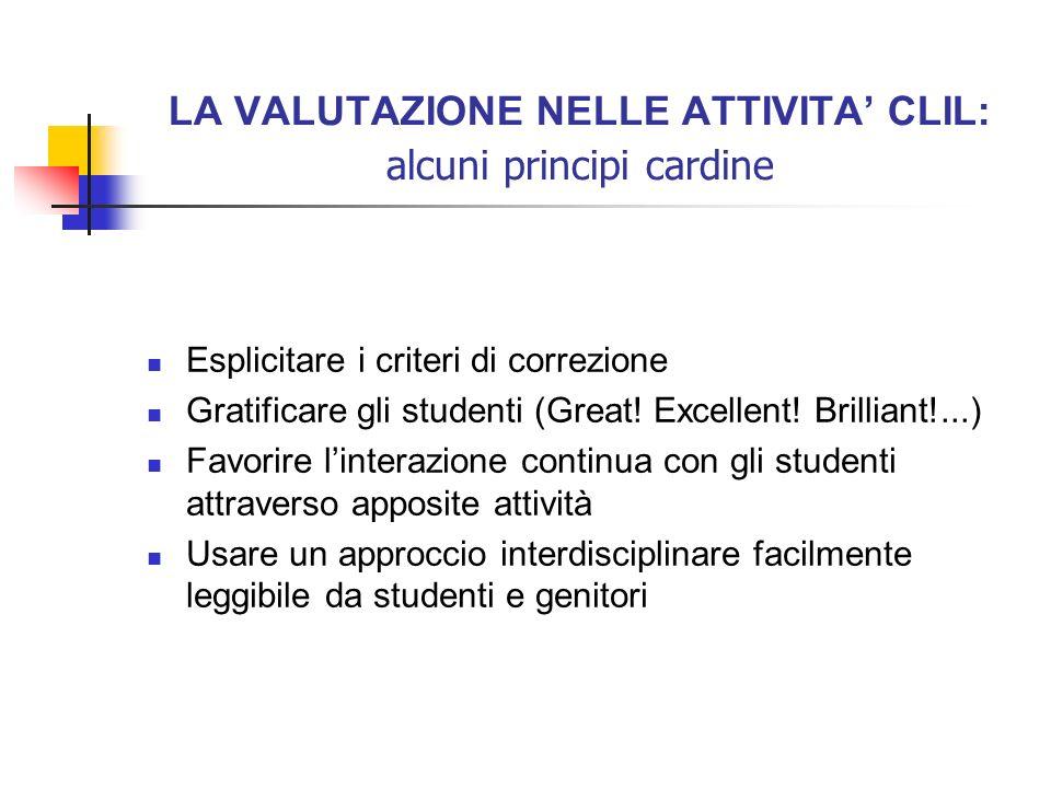 LA VALUTAZIONE NELLE ATTIVITA CLIL: alcuni principi cardine Esplicitare i criteri di correzione Gratificare gli studenti (Great! Excellent! Brilliant!