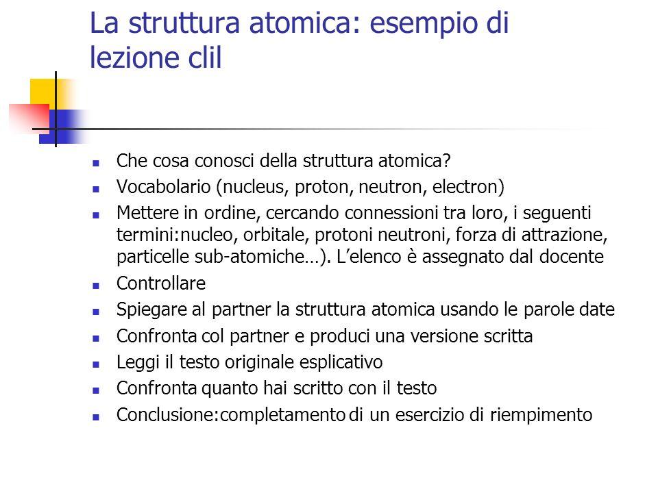 La struttura atomica: esempio di lezione clil Che cosa conosci della struttura atomica? Vocabolario (nucleus, proton, neutron, electron) Mettere in or