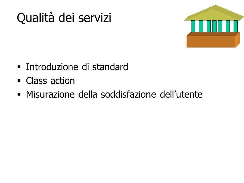 18 Qualità dei servizi Introduzione di standard Class action Misurazione della soddisfazione dellutente