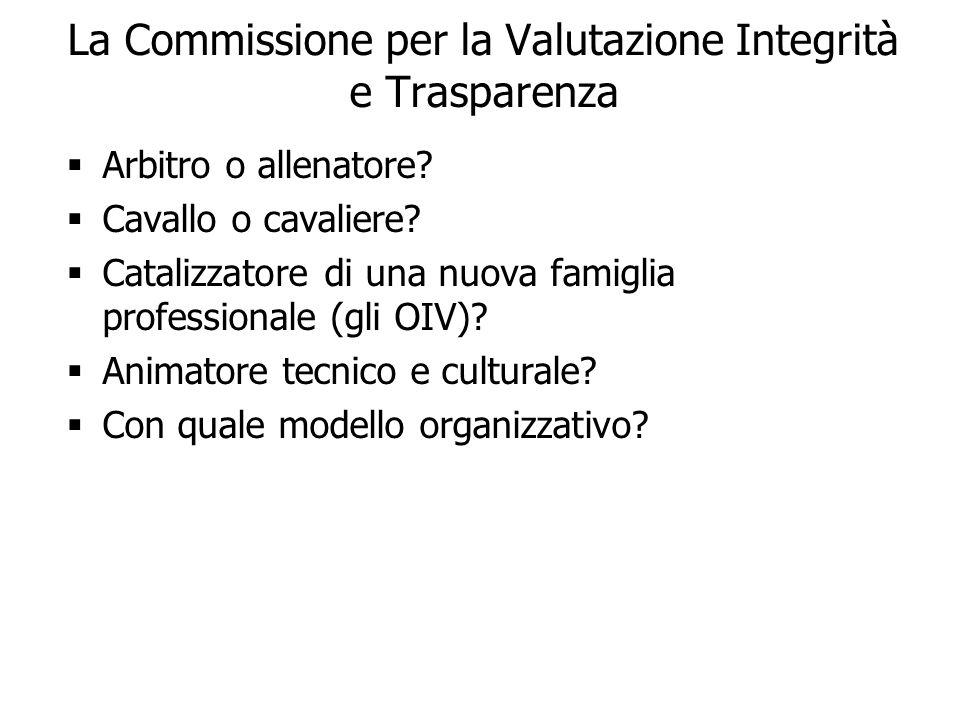 23 La Commissione per la Valutazione Integrità e Trasparenza Arbitro o allenatore? Cavallo o cavaliere? Catalizzatore di una nuova famiglia profession