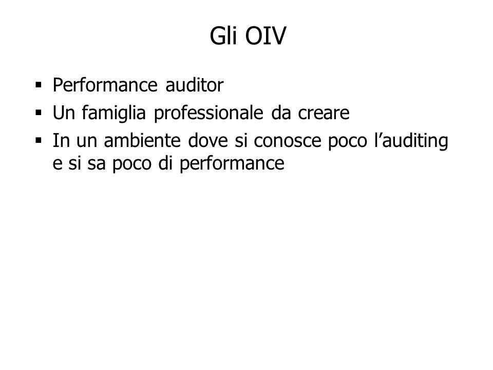 24 Gli OIV Performance auditor Un famiglia professionale da creare In un ambiente dove si conosce poco lauditing e si sa poco di performance