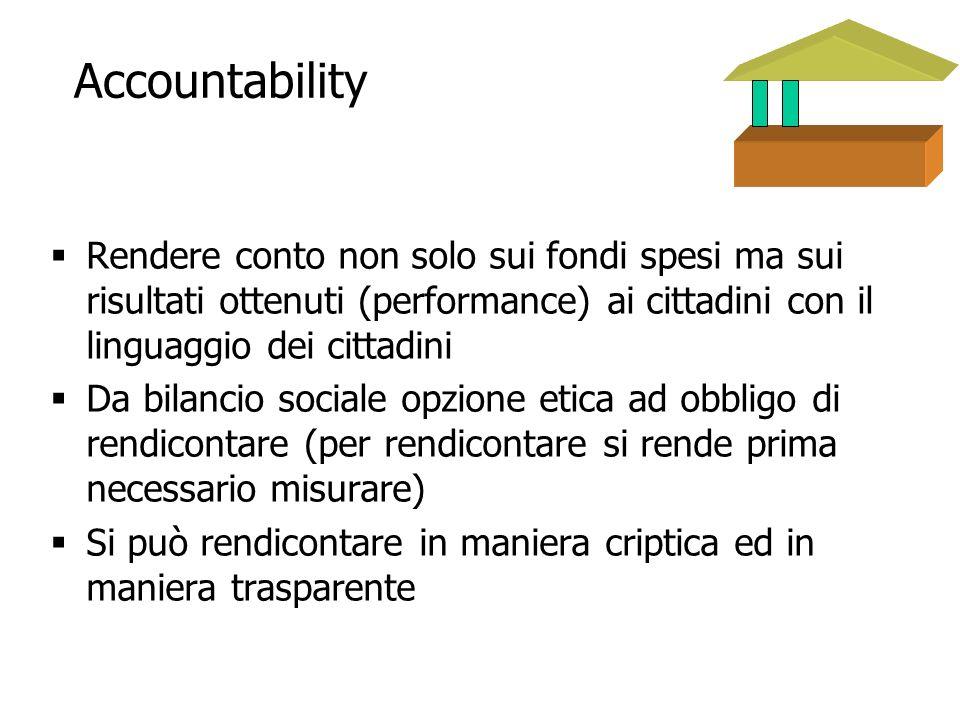 8 Accountability Rendere conto non solo sui fondi spesi ma sui risultati ottenuti (performance) ai cittadini con il linguaggio dei cittadini Da bilanc
