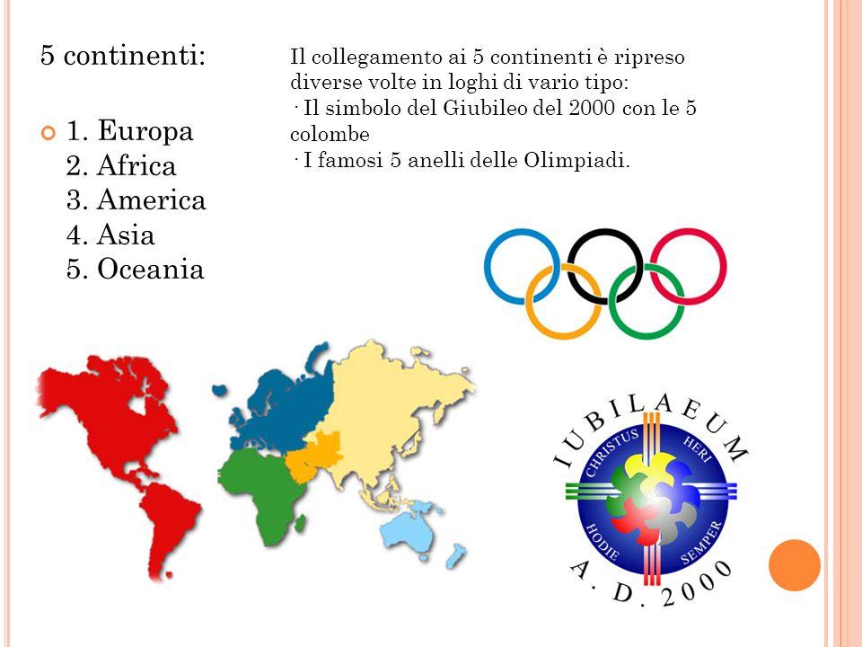 5 continenti: 1. Europa 2. Africa 3. America 4. Asia 5. Oceania Il collegamento ai 5 continenti è ripreso diverse volte in loghi di vario tipo: · Il s