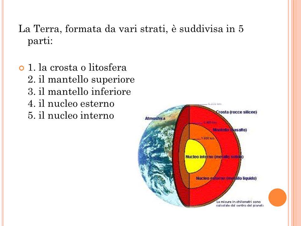 La Terra, formata da vari strati, è suddivisa in 5 parti: 1. la crosta o litosfera 2. il mantello superiore 3. il mantello inferiore 4. il nucleo este