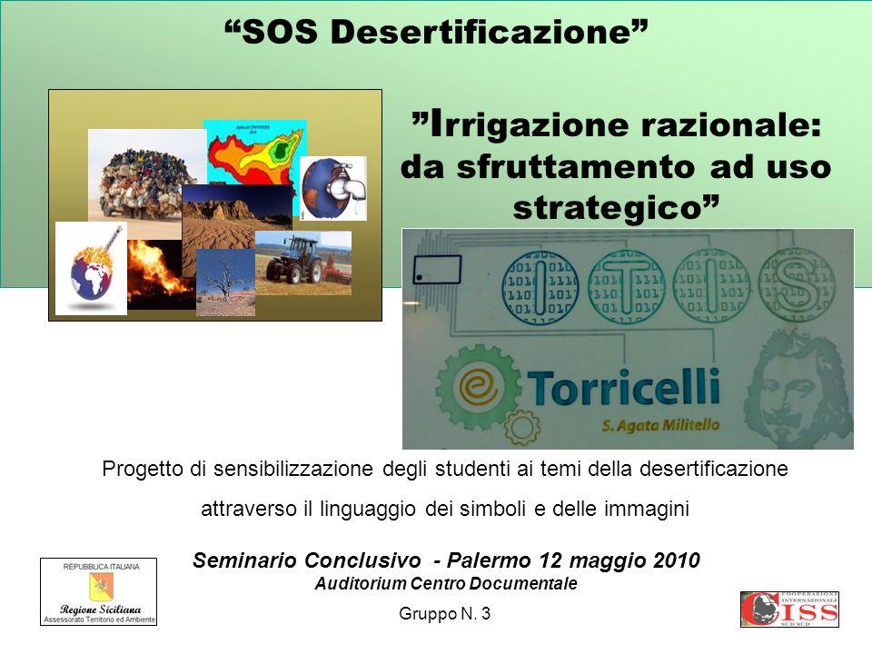 SOS Desertificazione Progetto di sensibilizzazione degli studenti ai temi della desertificazione attraverso il linguaggio dei simboli e delle immagini Seminario Conclusivo - Palermo 12 maggio 2010 Auditorium Centro Documentale Gruppo N.
