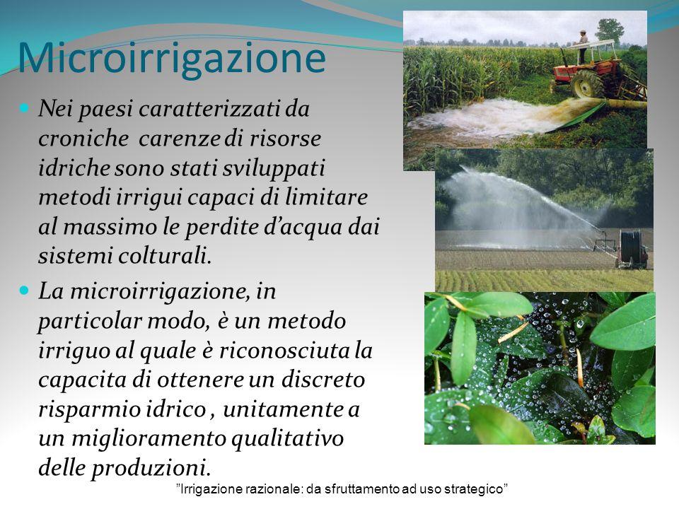 Microirrigazione Nei paesi caratterizzati da croniche carenze di risorse idriche sono stati sviluppati metodi irrigui capaci di limitare al massimo le perdite dacqua dai sistemi colturali.