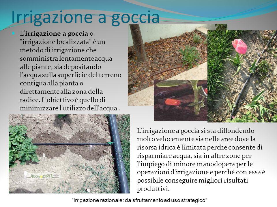 Irrigazione a goccia L irrigazione a goccia o irrigazione localizzata è un metodo di irrigazione che somministra lentamente acqua alle piante, sia depositando l acqua sulla superficie del terreno contigua alla pianta o direttamente alla zona della radice.