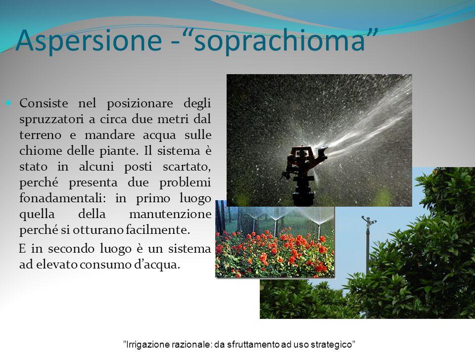 Aspersione -soprachioma Consiste nel posizionare degli spruzzatori a circa due metri dal terreno e mandare acqua sulle chiome delle piante.